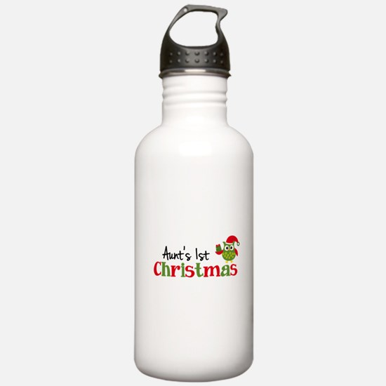 Aunt's 1st Christmas Owl Water Bottle