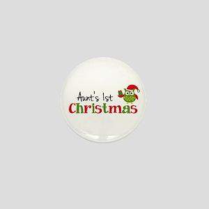 Aunt's 1st Christmas Owl Mini Button