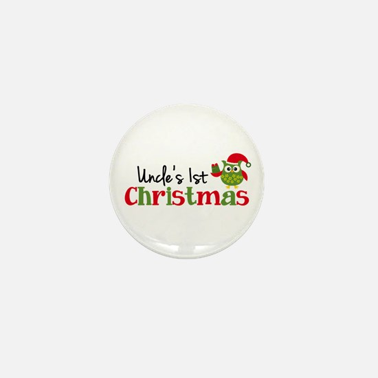 Uncle's 1st Christmas Owl Mini Button