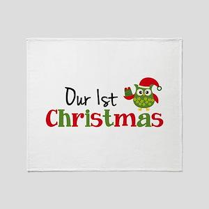Our 1st Christmas Owl Throw Blanket