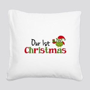 Our 1st Christmas Owl Square Canvas Pillow