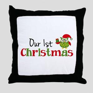 Our 1st Christmas Owl Throw Pillow