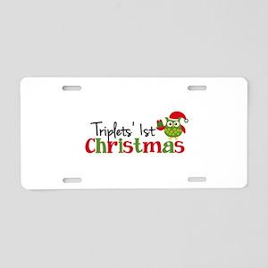 Triplets' 1st Christmas Owl Aluminum License Plate