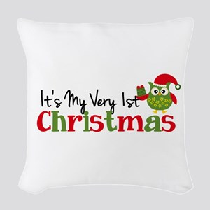 It's My Very 1st Christmas Owl Woven Throw Pillow