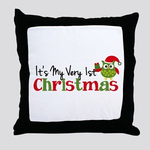 It's My Very 1st Christmas Owl Throw Pillow