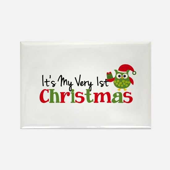 It's My Very 1st Christmas Owl Rectangle Magnet