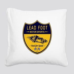 Lead Foot Hot Rod Square Canvas Pillow