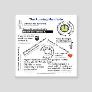 "The Running Manifesto v2.0  Square Sticker 3"" x 3"""