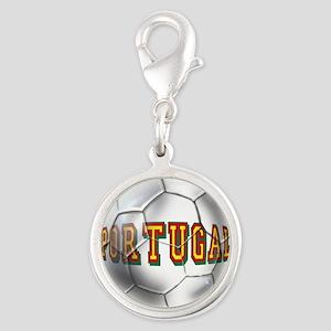 Portugal Football Silver Round Charm
