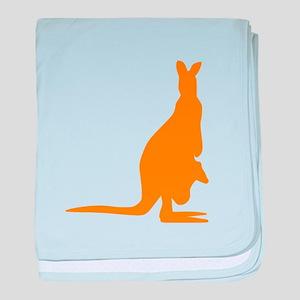 Orange Kangaroo Silhouette baby blanket