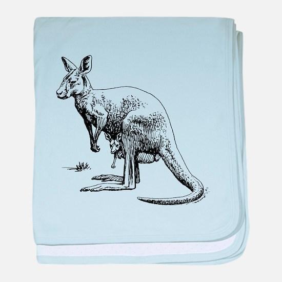 Kangaroo Sketch baby blanket