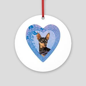 minpin-heart Round Ornament