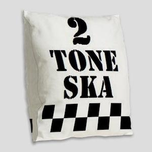 2 Tone Ska Burlap Throw Pillow