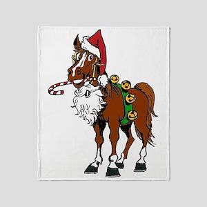 pony wearing santa hat Throw Blanket
