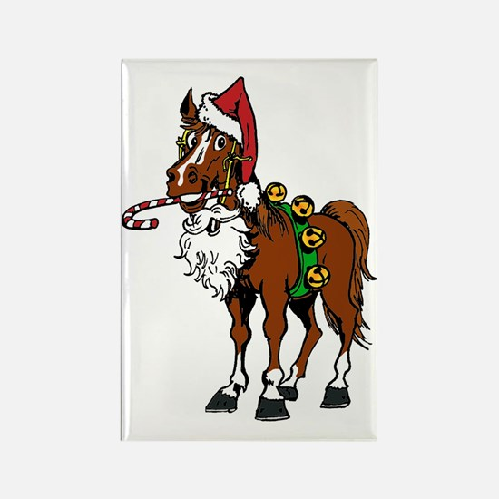 pony wearing santa hat Rectangle Magnet