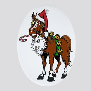 pony wearing santa hat Oval Ornament
