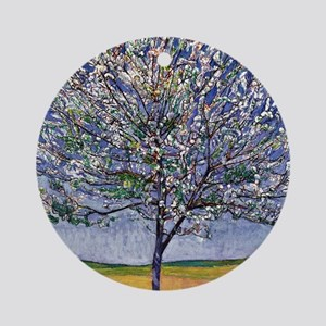 Cherry Tree in Bloom, painting by F Round Ornament