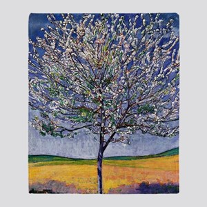 Cherry Tree in Bloom, painting by Fe Throw Blanket
