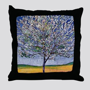 Cherry Tree in Bloom, painting by Fer Throw Pillow
