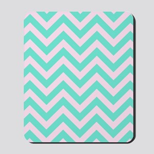 Pink and turquoise chevrons 1 Mousepad