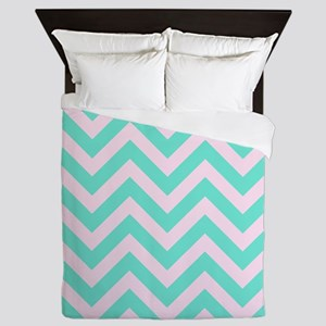 Pink and turquoise chevrons 1 Queen Duvet