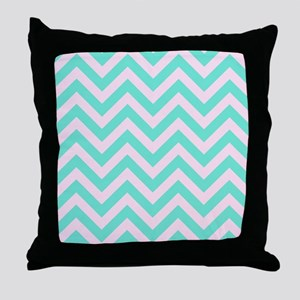 Pink and turquoise chevrons 1 Throw Pillow