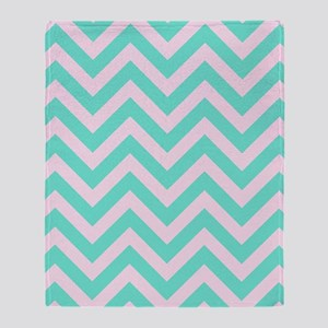 Pink and turquoise chevrons 1 Throw Blanket