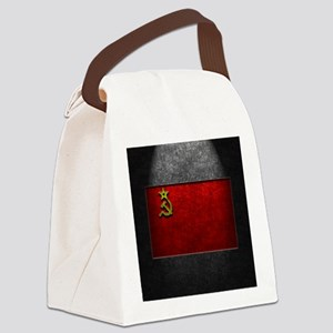 USSR Flag Stone Texture Canvas Lunch Bag