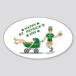 St. Patrick's Day Carriage Oval Sticker