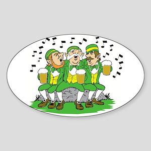 Leprechauns Singing Oval Sticker