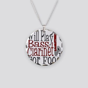 Will Play Bass Clarinet Necklace Circle Charm