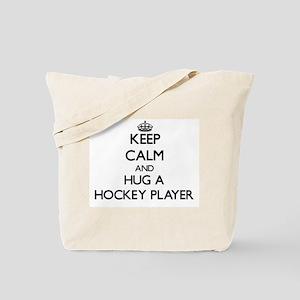 Keep Calm and Hug a Hockey Player Tote Bag