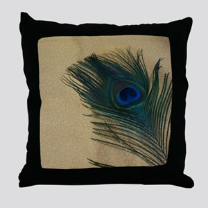 Metallic Gold Peacock Throw Pillow