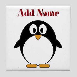 Modern Penguin Add Name Tile Coaster