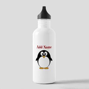 Modern Penguin Add Name Water Bottle
