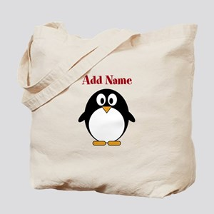 Modern Penguin Add Name Tote Bag