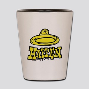 condom_happen_right_yellow Shot Glass