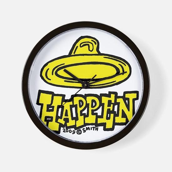 condom_happen_right_yellow Wall Clock
