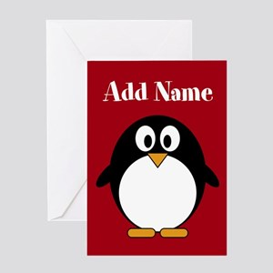 Modern Penguin Red Greeting Cards