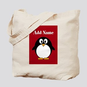 Modern Penguin Red Tote Bag
