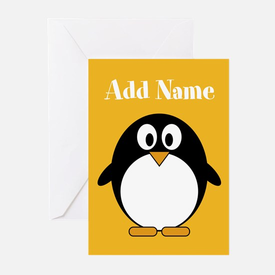 Modern Penguin Yellow Greeting Cards