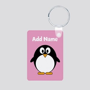Modern Penguin pink Keychains