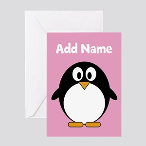 Modern Penguin pink Greeting Cards