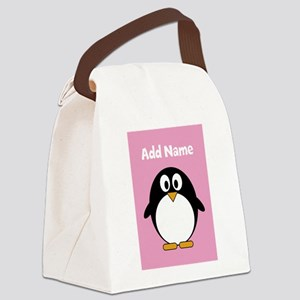 Modern Penguin pink Canvas Lunch Bag