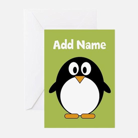 Modern Penguin lime green Greeting Cards