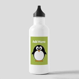 Modern Penguin lime green Water Bottle