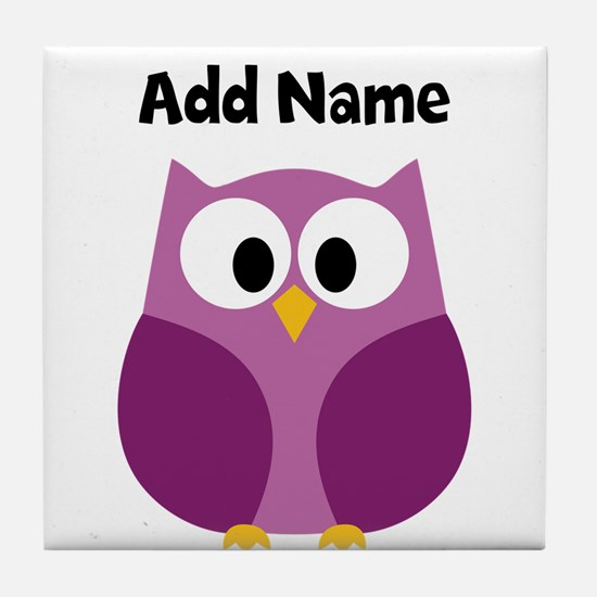 Modern Owl Purple Tile Coaster
