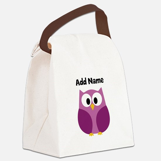 Modern Owl Purple Canvas Lunch Bag