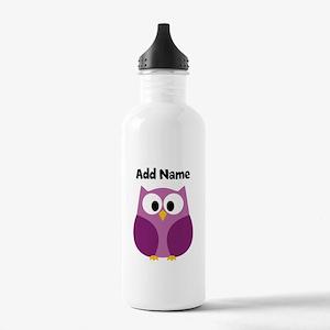 Modern Owl Purple Water Bottle