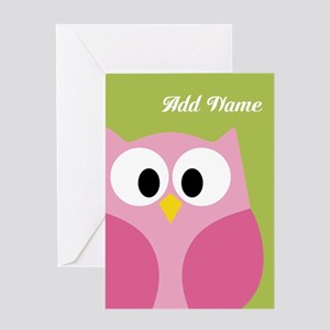 Cute owl greeting cards cafepress green pink owl greeting cards m4hsunfo